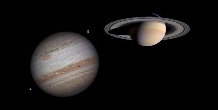 Double Transit of Jupiter and Saturn